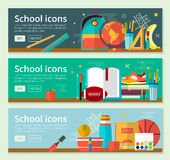 Vector Back To School Banner concept design. Horizontal banners of education with school items. Royalty Free Stock Image