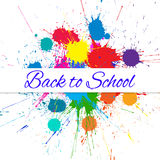 Vector Back to School Banner over Bright Ink Color Blots Stock Photography