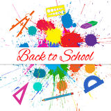 Vector Back to School Banner over Bright Ink Color Blots Royalty Free Stock Images