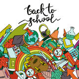 Vector back to school banner or poster with seamless horizontal background. Stock Photography