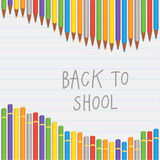 Vector back to school crayon composition. Square decorative bann Stock Image