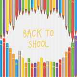 Vector back to school crayon composition. Square decorative bann Royalty Free Stock Photography