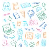 Vector back to school doodle elements set. Study and learning objects. Book, notebook, bag, ball, chalkboard Stock Photo