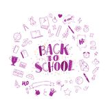 Vector back to school doodle icons set illustration. Free hand drawn education element collection isolated on white background. Royalty Free Stock Photo