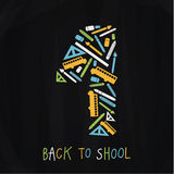 Vector back to school emblem composed of nice icons. Emblem on s Royalty Free Stock Photo