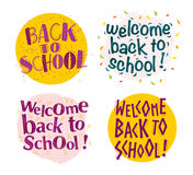 Vector back to school greeting lettering compositions set isolated on white background. Good for banners, postcards, packaging design, etc Stock Photos