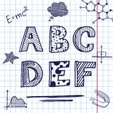 Vector back to school. Hand drawing on exercise book sheet background. Eps10 Stock Image