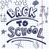 Vector back to school. Hand drawing on exercise book sheet background. Eps10 Royalty Free Stock Photo