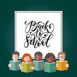 Vector Back To School hand lettering in frame with illustration in flat style. Icons of students and pupils with books. Royalty Free Stock Photo