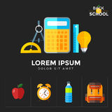Vector back to school icons set. Education object in flat style on dark Stock Photos