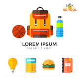 Vector back to school icons set. Education object in flat style Royalty Free Stock Photo