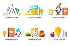Vector back to school icons set. Suitable for banners, print media and web design. Education object in flat style Royalty Free Stock Photo