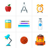 Vector back to school icons set. Suitable for banners, print media and web design. Education object in flat style Royalty Free Stock Images
