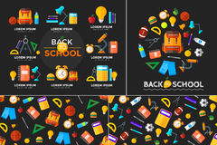Vector back to school icons set. Suitable for banners, print media and web design. Education object in flat style Stock Images