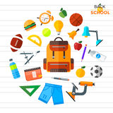 Vector back to school icons set. Suitable for banners, print media and web design. Education object in flat style Stock Photos