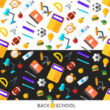 Vector back to school icons set. Suitable for banners, print media and web design. Education object in flat style Royalty Free Stock Image