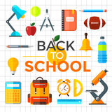 Vector back to school icons set. Suitable for banners, print media and web design. Education object in flat style Royalty Free Stock Photos