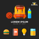Vector back to school icons set. Suitable for banners, print media and web design. Education object in flat style Stock Image