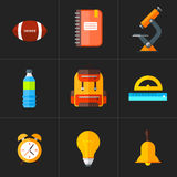 Vector back to school icons set. Suitable for banners, print media and web design. Education object in flat style Stock Photography