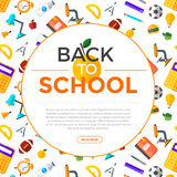 Vector back to school icons set. Suitable for banners, print media and web design. Education object in flat style Royalty Free Stock Photography