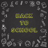 Vector back to school illustration. Chalkboard poster with doodle icons Royalty Free Stock Photo