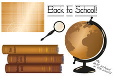 Vector Back to School illustration with cutting mat (or a chalk board), stack of old books, globe and a magnifier glass Stock Image