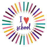 Vector back to school illustration. i love school. Color pencils. back to school. nursery. bright Royalty Free Stock Photo