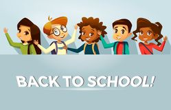 Vector back to school kids poster template stock illustration