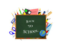Vector back to school lettering on chalkboard with school supplies and tools behind it. Royalty Free Stock Photography