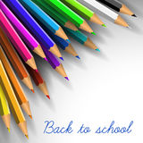 Vector Back to school poster. Colorful crayons on white paper Stock Images