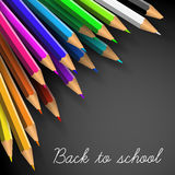 Vector Back to school poster. Colorful crayons on white paper Stock Photography