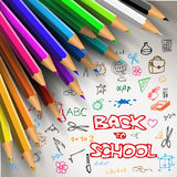 Vector Back to school poster. Colorful crayons on white paper with doodles Royalty Free Stock Photo