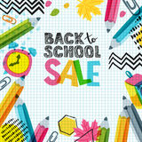 Vector back to school sale banner, poster background. Hand drawn sketch letters, multicolor pencils. Stock Image