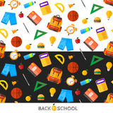 Vector back to school set of seamless pattern. High school objec. Education object in flat style on dark Royalty Free Stock Images