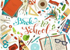 Vector back to school template. Hand lettering and cartoon design elements and symbols on white background. Hand-drawn colourful stationery supplies. Pens stock illustration