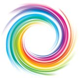 Vector backdrop of spiral rainbow spectrum. Creative eddy festival happy surface of vivid multi colored glossy curled spraying rippled ring. Closeup view with royalty free illustration