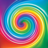 Vector backdrop of spiral rainbow spectrum. Vector modern wonderful eddy futuristic festiv happy aqua backdrop of vivid multi colored spiral curled striped Stock Images