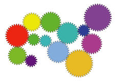 Vector background. Colorful toothed wheels background vector illustration