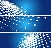 Vector background. 3 halftone  blue banners Stock Image
