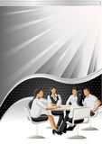 Vector background. With black wave and business people Stock Photography