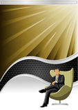 Vector background. With black wave and business person Royalty Free Stock Images