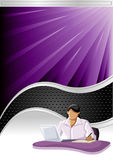 Vector background. With black wave and business person Stock Images