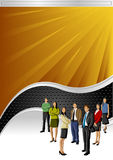 Vector background. With black wave and business people Royalty Free Stock Photo