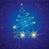 Vector background with 2010 and Christmas tree. Vector shining Christmas background with 2010 and Christmas tree from stars on the sky (from my Christmas Royalty Free Stock Images