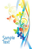 Vector background. Vector rainbow colored background with flowers for design Stock Illustration