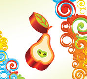 Vector background with 3D pear Royalty Free Stock Photography