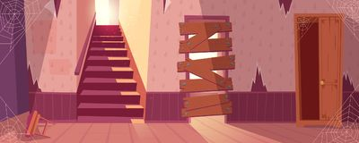 Vector background of abandoned house, desolate building. Vector illustration of abandoned house with torn wallpapers. Desolate building with staircase, wooden vector illustration