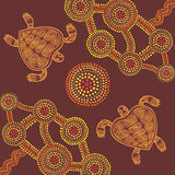 Vector background aboriginal style design with turtles Royalty Free Stock Images