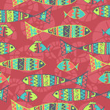 Vector background aboriginal style symbolic. Seamless design. seamless ethnic background with fish Royalty Free Stock Image