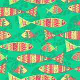 Vector background aboriginal style symbolic. Seamless design. seamless ethnic background with fish Stock Photo